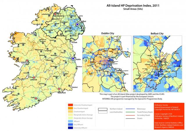 All Island Deprivation Map prepared by All-Island Research Observatory http://airo.maynoothuniversity.ie/mapping-resources/airo-census-mapping/national-viewers/all-island-deprivation-index